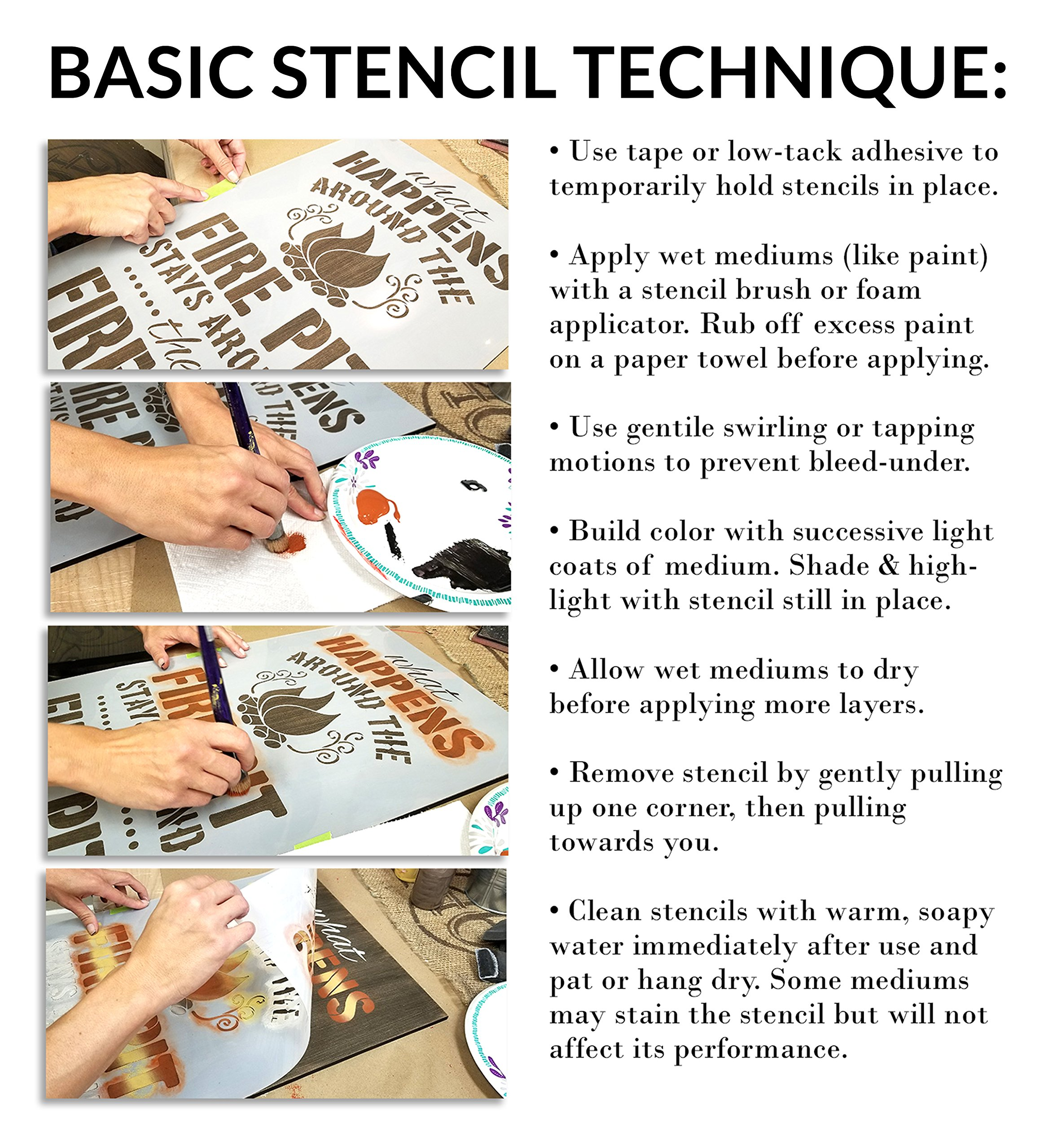 French Bee Stencil by StudioR12 | Crown, Wreath, Bee French Art - Reusable Mylar Template | Painting, Chalk, Mixed Media | Use for Crafting, DIY Home | STCL917 | Multiple Sizes Available | (18'' x 18'')