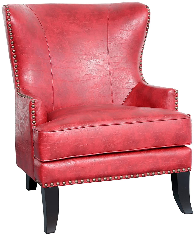 Astounding Amazon Com Porter Designs Grant Red Accent Chair One Size Inzonedesignstudio Interior Chair Design Inzonedesignstudiocom