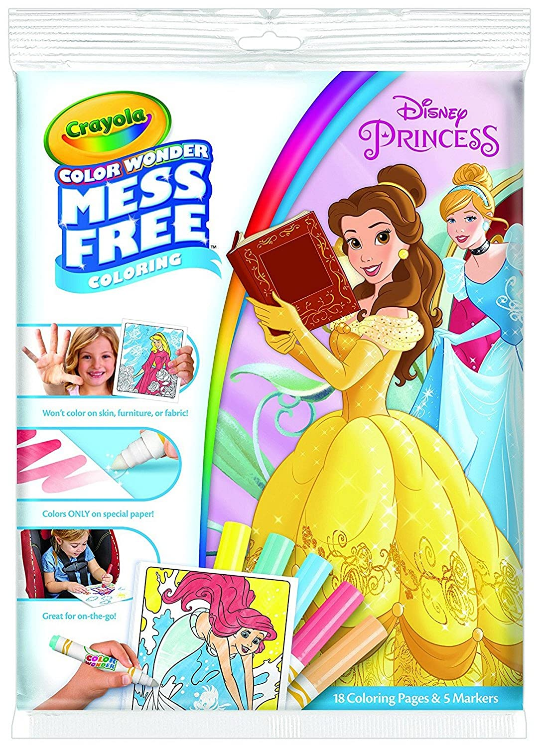 Crayola Color Wonder Mess Free Coloring, Disney Princess, 18 Coloring Pages and 5 Markers 75-2496