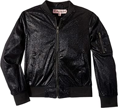 Urban Republic Kids Girl s Ziggy Metallic Bomber Jacket (Little Kids Big  Kids) Black 5541f2eff