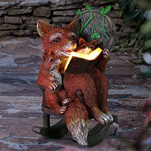 Exhart Solar Fox Family Reading a Book on a Rocking Chair Garden Statue Bookworm Foxes Mini Figurine w/Solar LED Lights