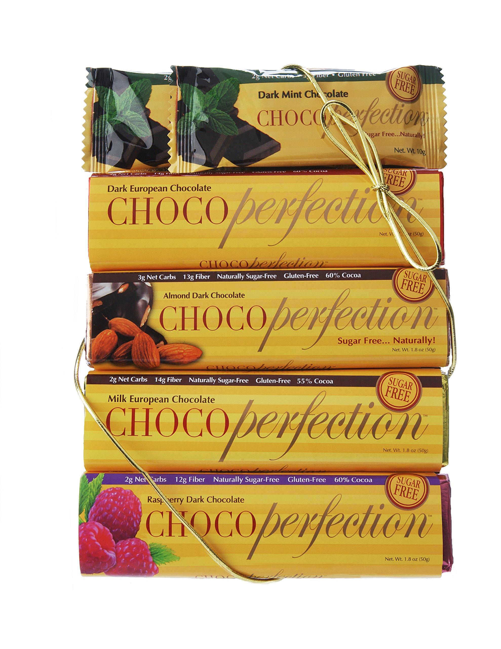 ChocoPerfection Sugar Free Chocolate Bar Variety Pack, 1 Dark, 1 Milk, 1 Dark Raspberry, 1 Dark Almond and 2 Mini Dark Mint, 6 Bars