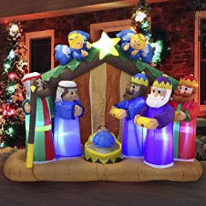 Joiedomi 6 ft Christmas Inflatable Nativity Scene Inflatablewith Angels with Build-in LEDs Blow Up Inflatables for Christmas Party Indoor, Outdoor, Yard, Garden, Lawn Décor