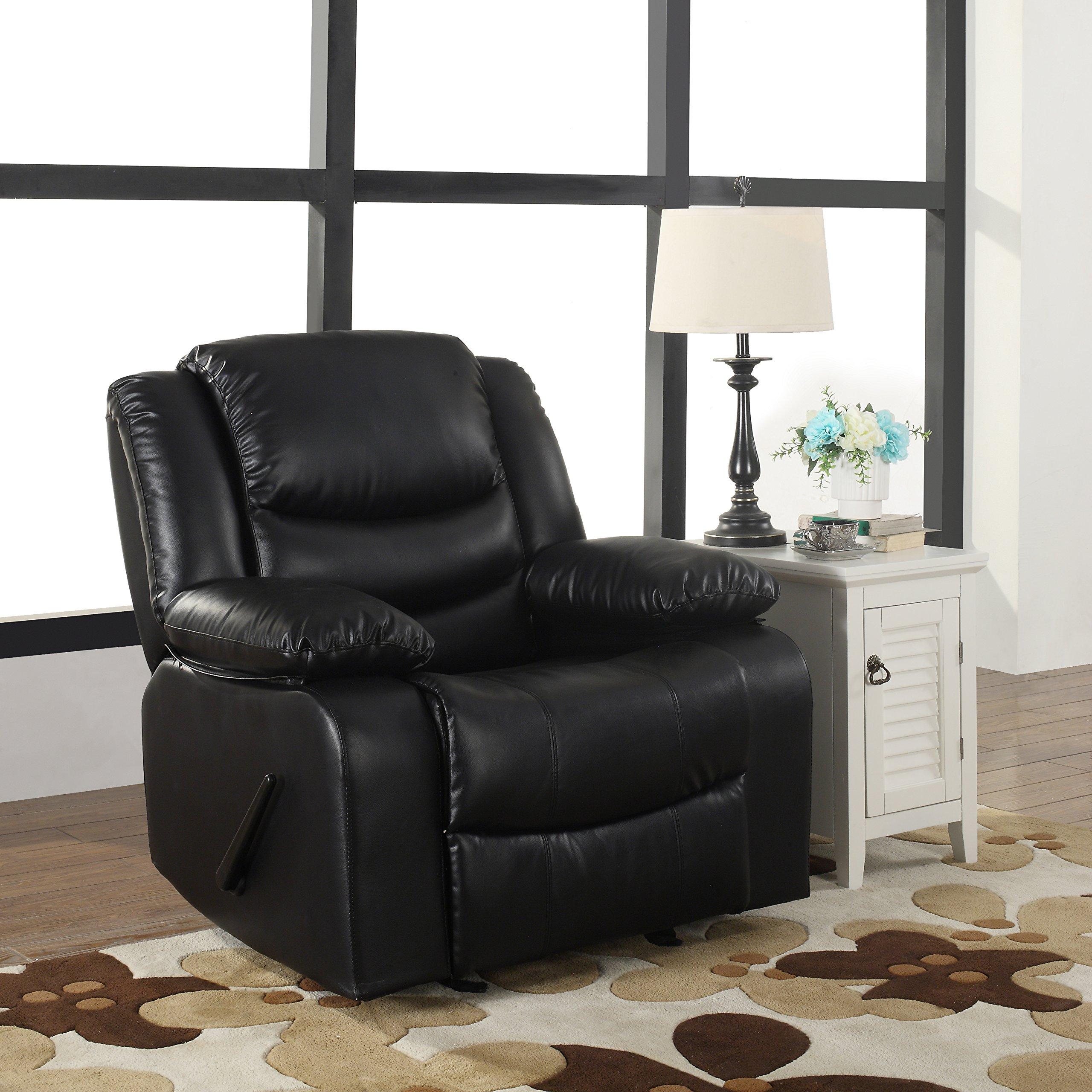 Bonded Leather Rocker Recliner Living Room Chair, Black / Brown (Black)