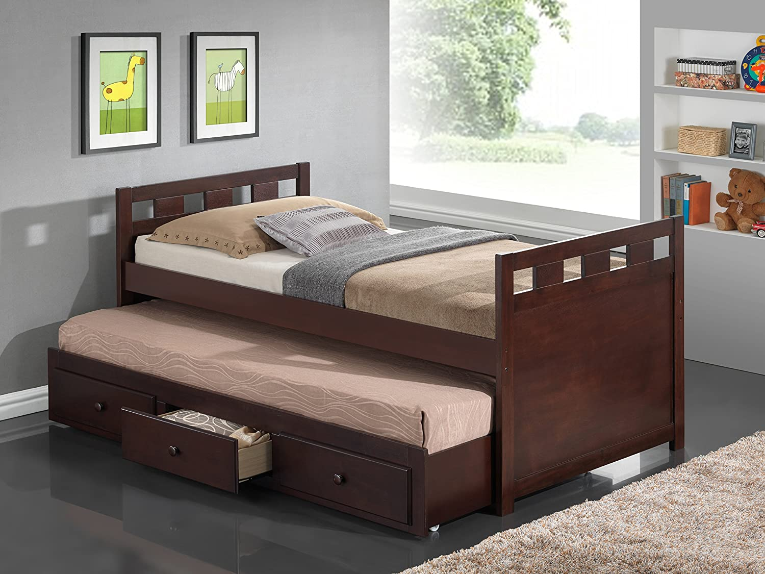 Accessories choose an option under bed drawers trundle bed none - Amazon Com Broyhill Kids Breckenridge Captain S Bed With Trundle Bed And Drawers Espresso Kitchen Dining