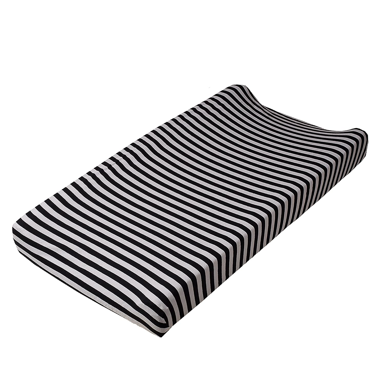 Lolli Living 602011 Stripe Change Pad Cover - Black Living Textiles Co.