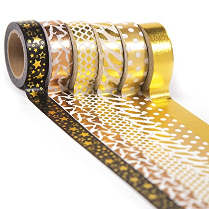 de beste 100% kwaliteit goedkoop kopen Gold Washi Tape Set 6 rolls, Decorative Craft Tapes Kit of Cute Patterns  for Scrapbooking, DIY Projects