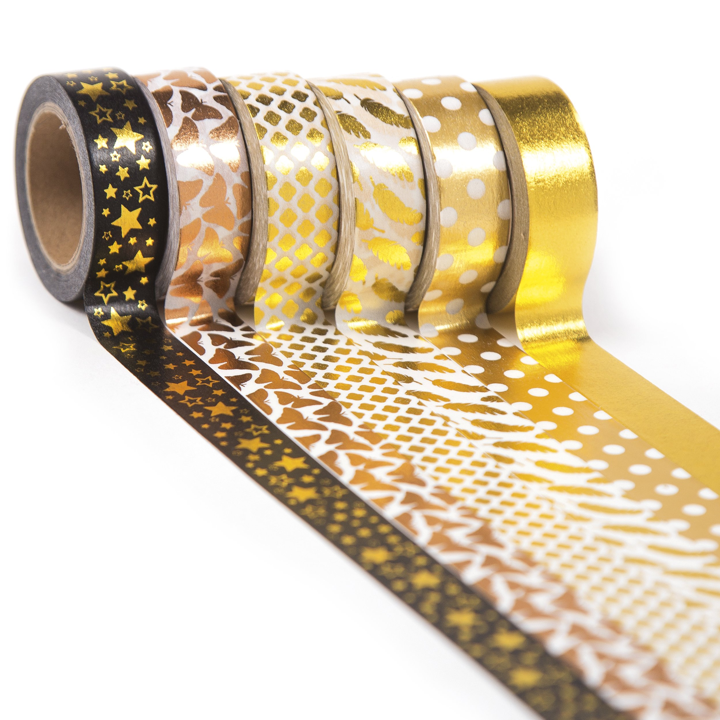 Gold Washi Tape Set 6 rolls, Decorative Craft Tapes Kit of Cute Patterns for Scrapbooking, DIY Projects by CRAFTISS