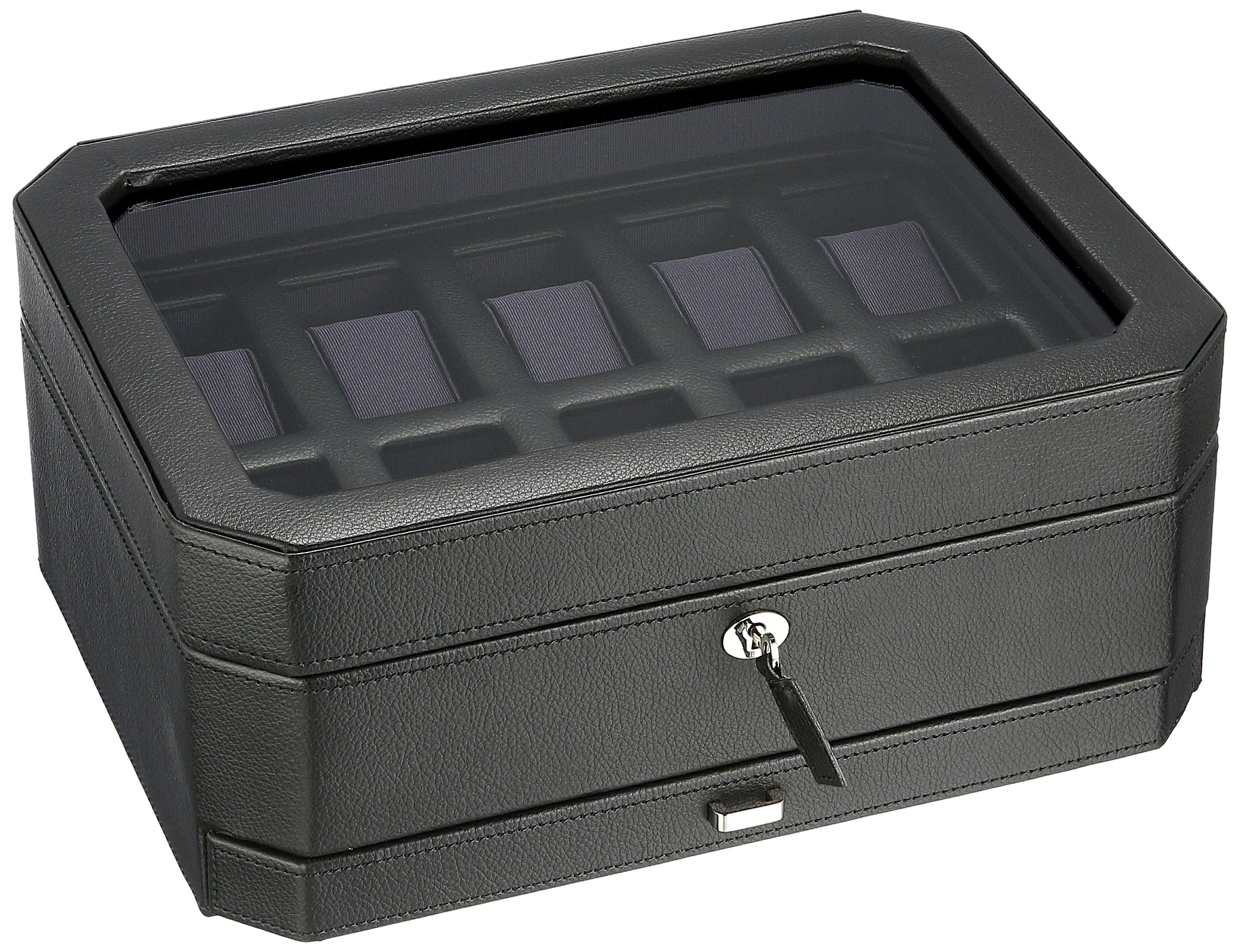 WOLF 458603 Windsor 10 Piece Watch Box with Cover and Drawer, Black/Purple by WOLF