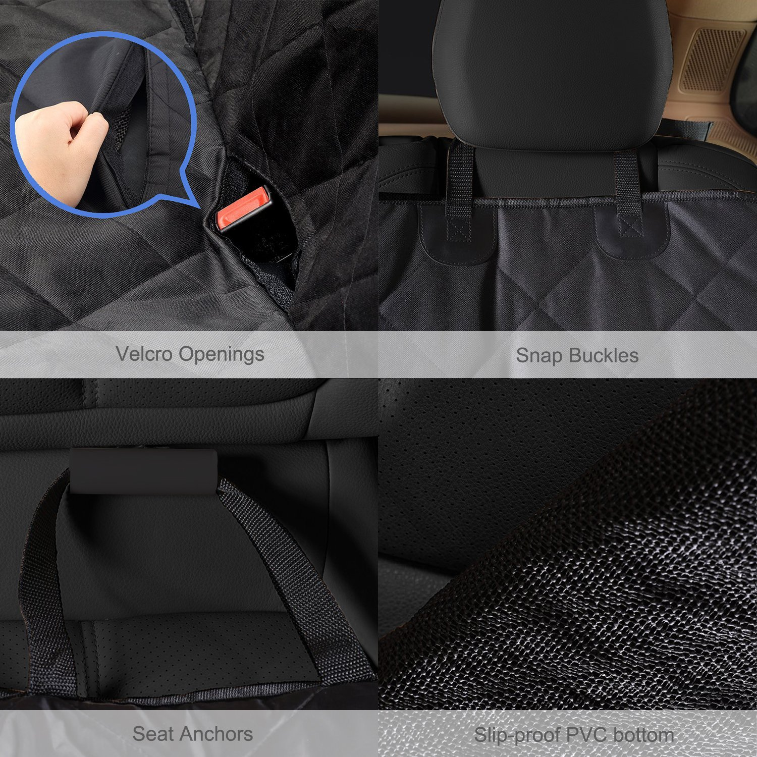 GELOO Bench Car Seat Cover Protector Waterproof, Heavy-Duty and Nonslip Pet Car Seat Cover for Dogs with Universal Size Fits for Cars, Trucks & SUVs by GELOO (Image #5)