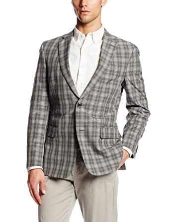 755666f4 Tommy Hilfiger Men's Ethan 2 Button Side Vent Plaid Sport Coat, Grey Plaid,  42 Regular at Amazon Men's Clothing store: