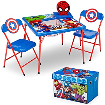 Peachy Delta Children 4 Piece Kids Furniture Set 2 Chairs And Table Set Fabric Toy Box Marvel Avengers Frankydiablos Diy Chair Ideas Frankydiabloscom