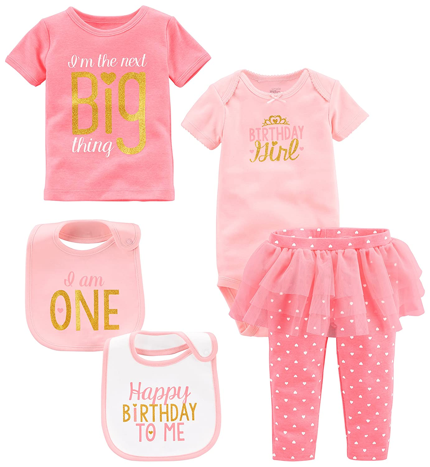 Amazon Simple Joys By Carters Baby Girls 5 Piece My 1st Birthday Set Clothing