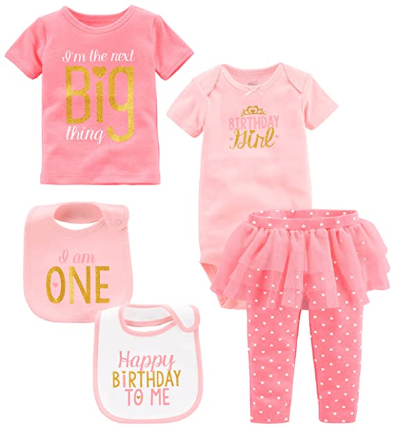 Amazon Simple Joys By Carters Baby Girls 5 Piecemy 1st Birthday Set Pink Girl 6 9 Months Clothing