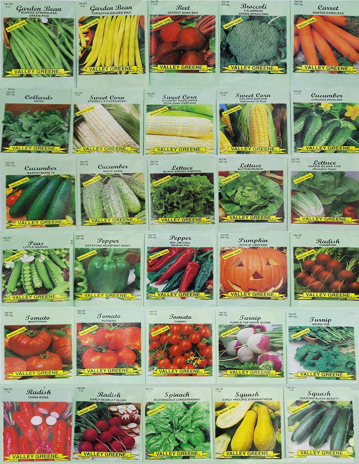 30 Packs of Deluxe Valley Greene Heirloom Vegetable Garden Seeds Non-GMO(Guaranteed 30 Different Varieties as Listed)