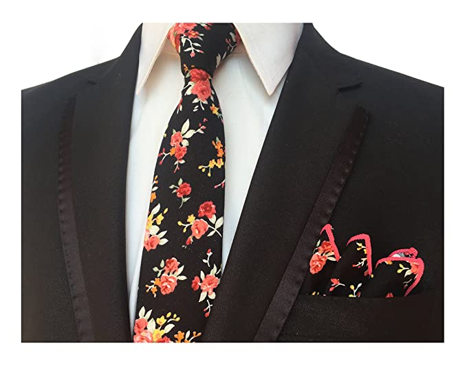 2b25ac92bf35 Men's Champagne Pink Elegant Floral Necktie with Pocket Square Gift Set  Neat Tie at Amazon Men's Clothing store: