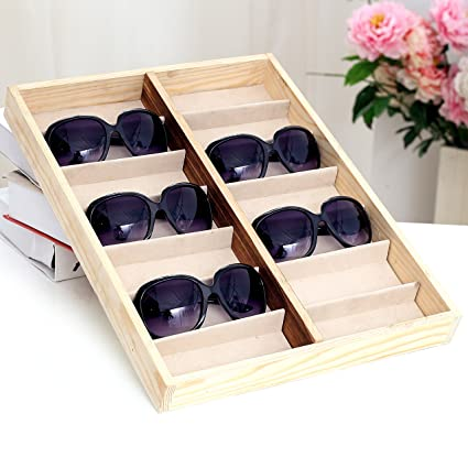 Beau Rustic Wood Sunglass Display Case, 14 Compartment Eyewear Storage Box, Beige