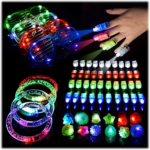 48 Pieces Party Supply Pack Light up Bracelets and Necklaces Night Parties Kicko 6 Inches Glow in the Dark Light Sticks with Hook 4 Bright Colors Toy Assortment Kids Prizes