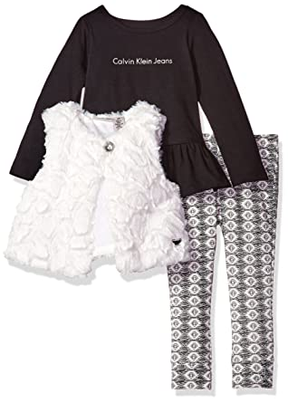 03143b39ace Amazon.com: Calvin Klein Girls' Toddler 3 Pieces Faux Fur Vest Set-Black  Tee: Clothing