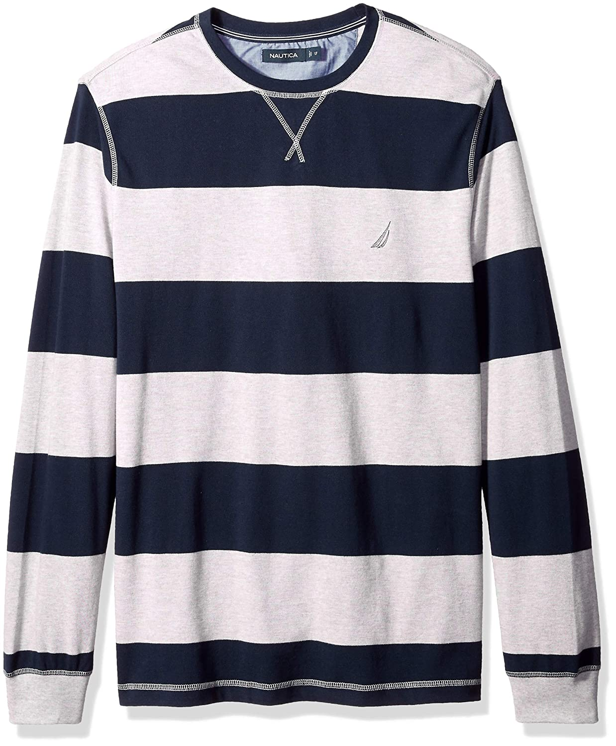 ab90a09893 Nautica Men's Big and Tall Long Sleeve Rugby Stripe Crewneck Polo Shirt,:  Amazon.in: Clothing & Accessories