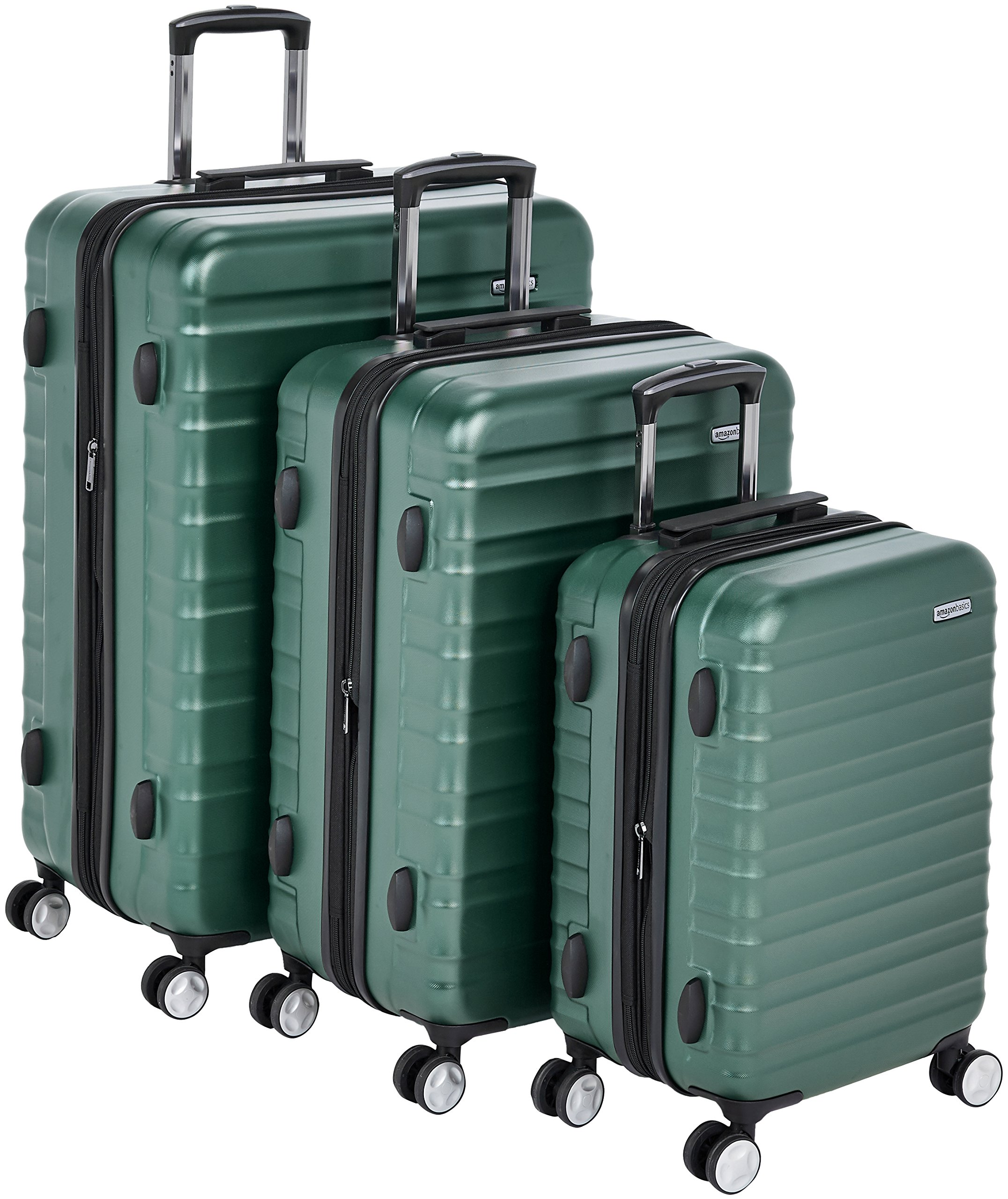 AmazonBasics Premium Hardside Spinner Luggage with Built-In TSA Lock - 3-Piece Set (20'', 24'', 28''), Green