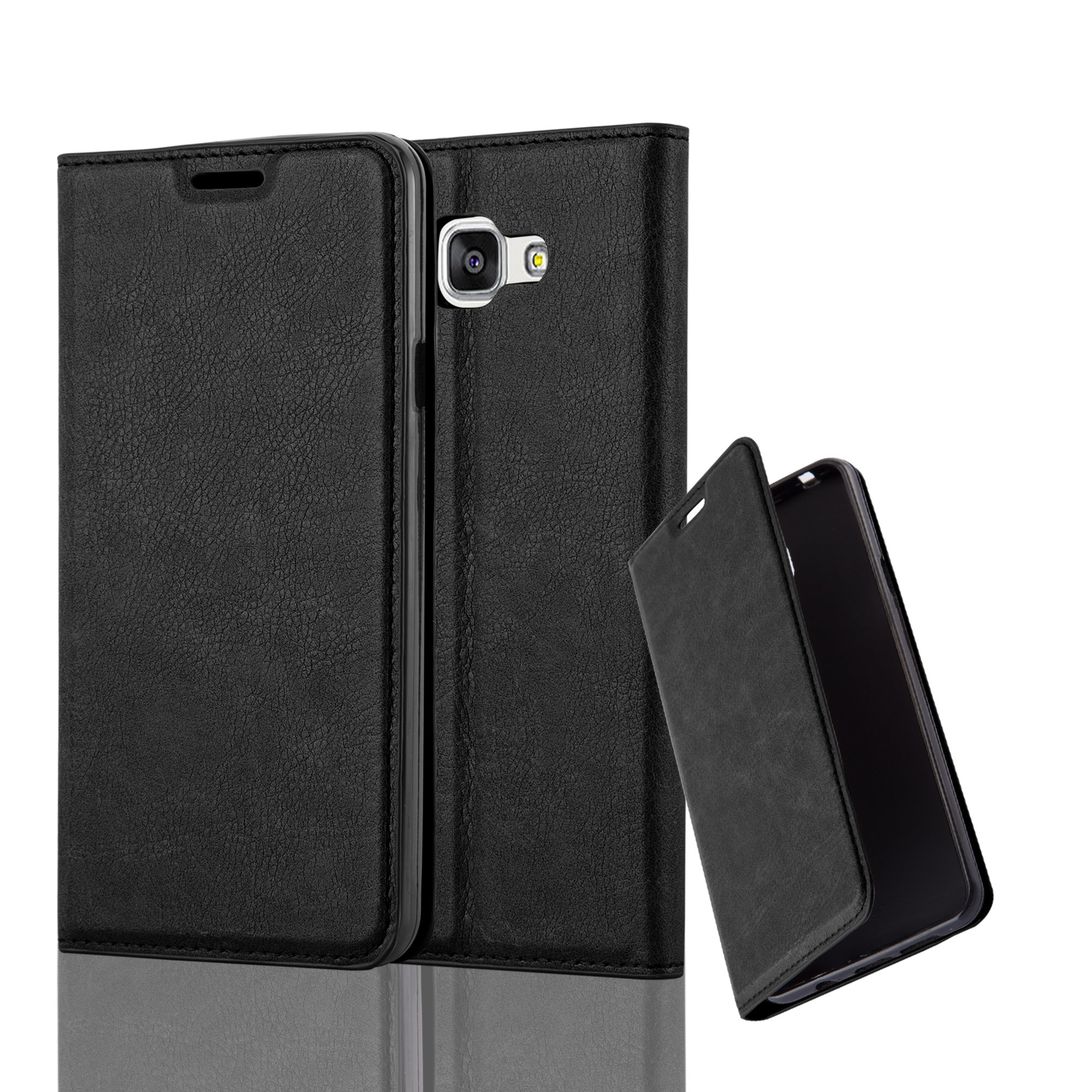 Cadorabo Case works with Samsung Galaxy A7 2016 (6) Book Case in NIGHT BLACK (Design INVISIBLE CLOSURE) – with Magnetic Closure, Stand Function and Card Slot – Wallet Case Etui Cover PU Leather