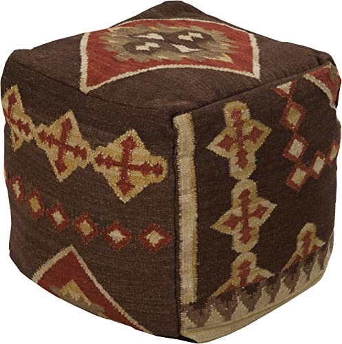 Surya Hand Made 100 Hard Twist Wool Chocolate 18″ x 18″ x 18″ Pouf