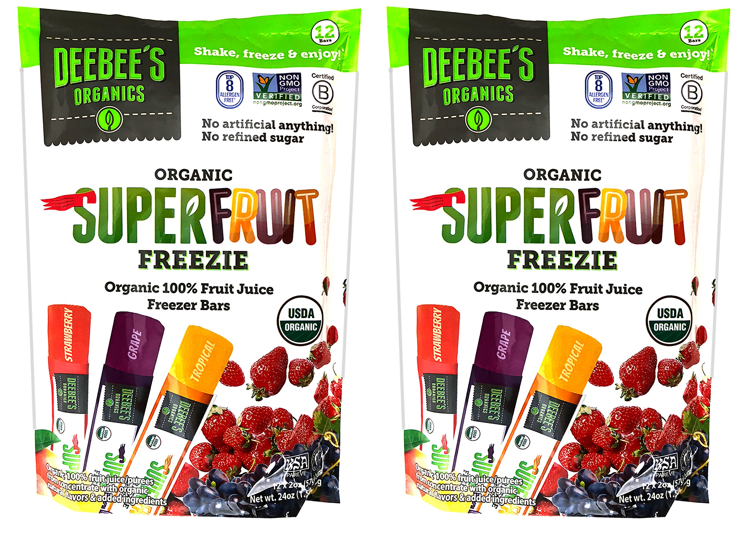 Deebee's Organic Superfruit Freezie Pops - Organic 100% Fruit Juice Freezer Bars (Pack of 24)