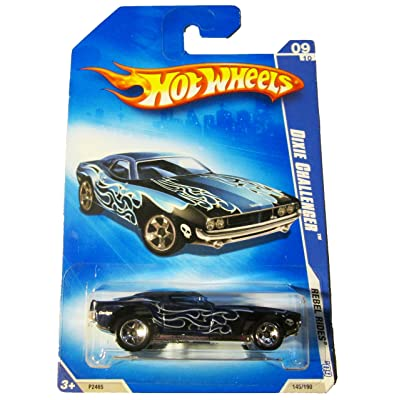 HOT WHEELS 2009 REBEL RIDES 09/10 DIXIE CHALLENGER DARK BLUE WITH SILVER FLAMES 145/190: Toys & Games