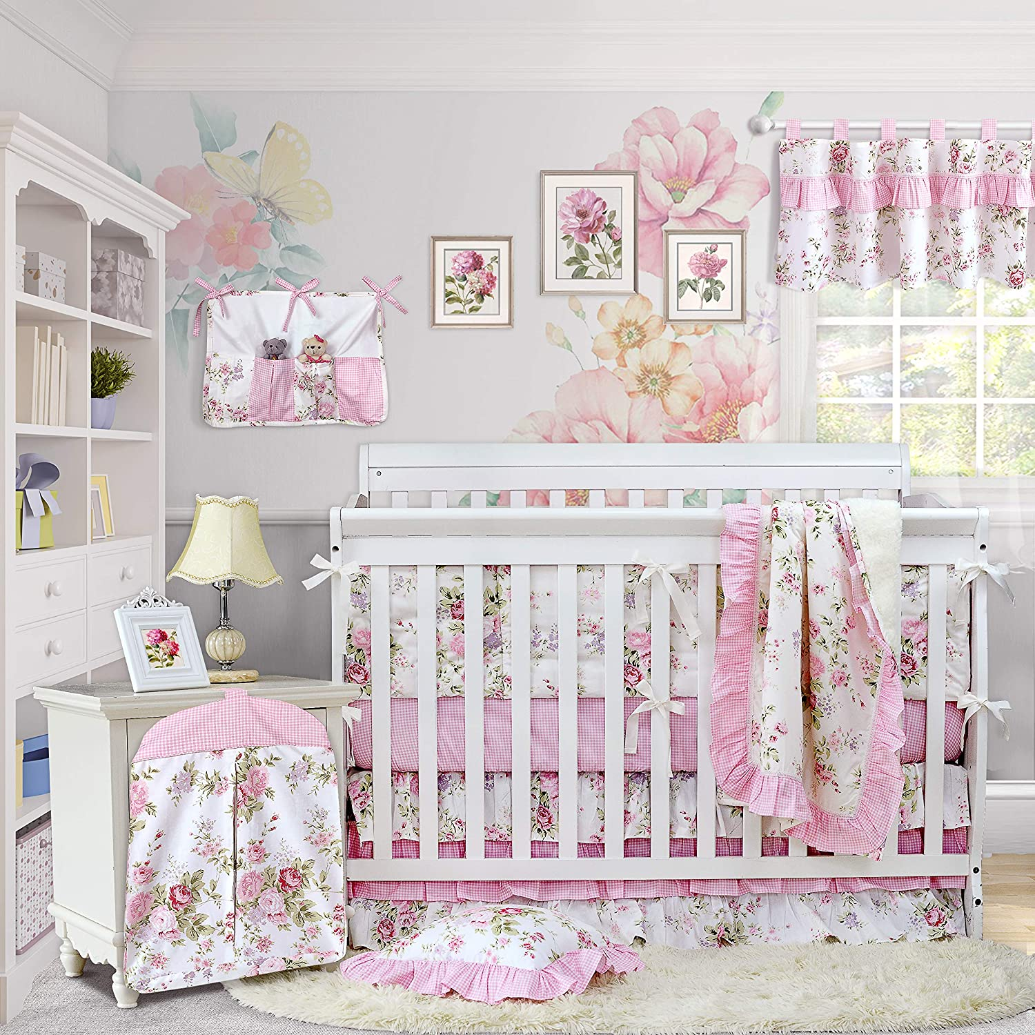 Brandream Baby Girls Crib Bedding Sets with Bumpers Blossom Blush Pink Watercolor Floral Nursery Baby Bedding Crib Sets, 11pieces