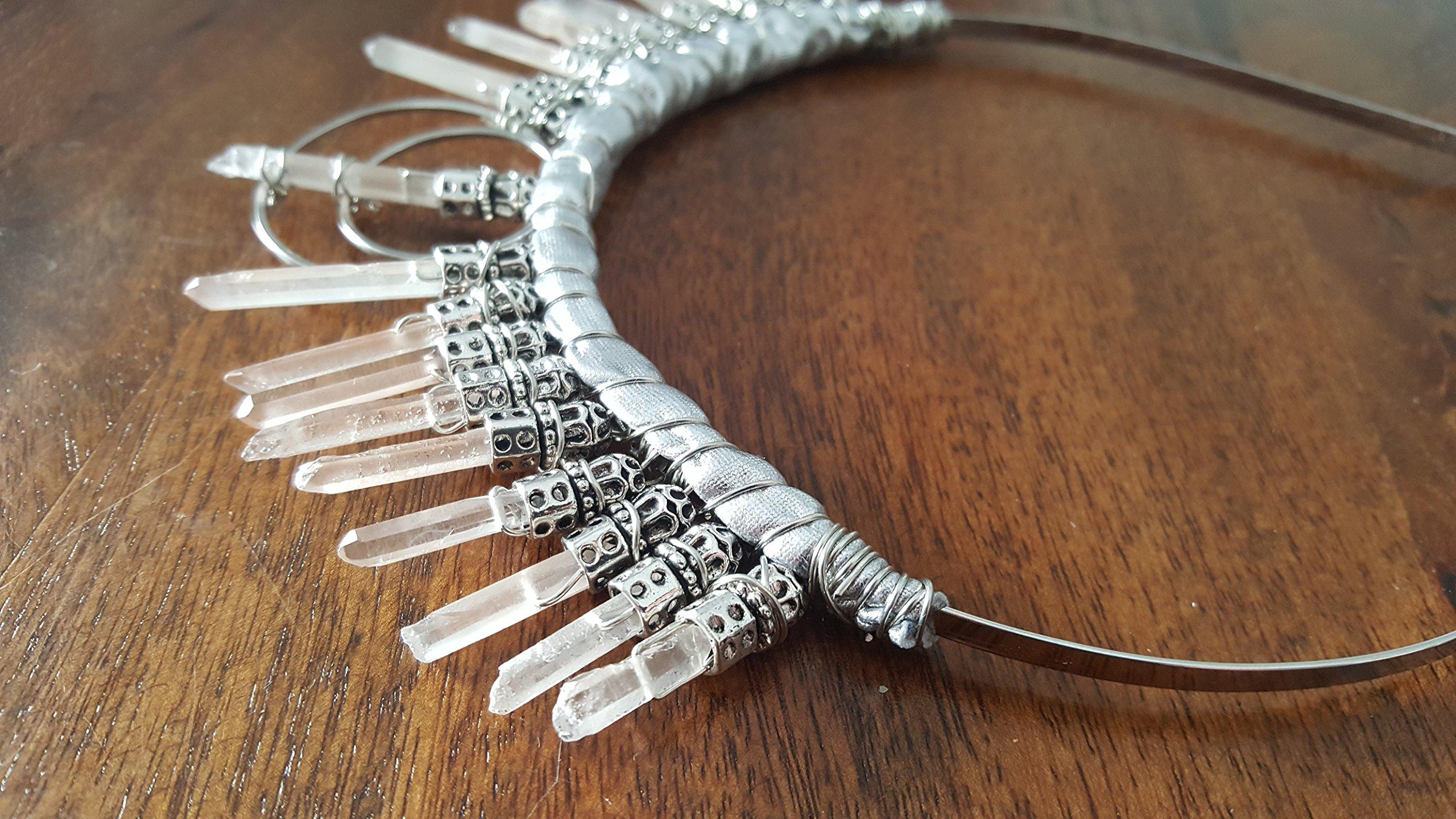 snow queen crown, winter wedding headpiece, quartz point hair accessories, cosplay headpiece, boho bridal headpiece, moon goddess crown, raw