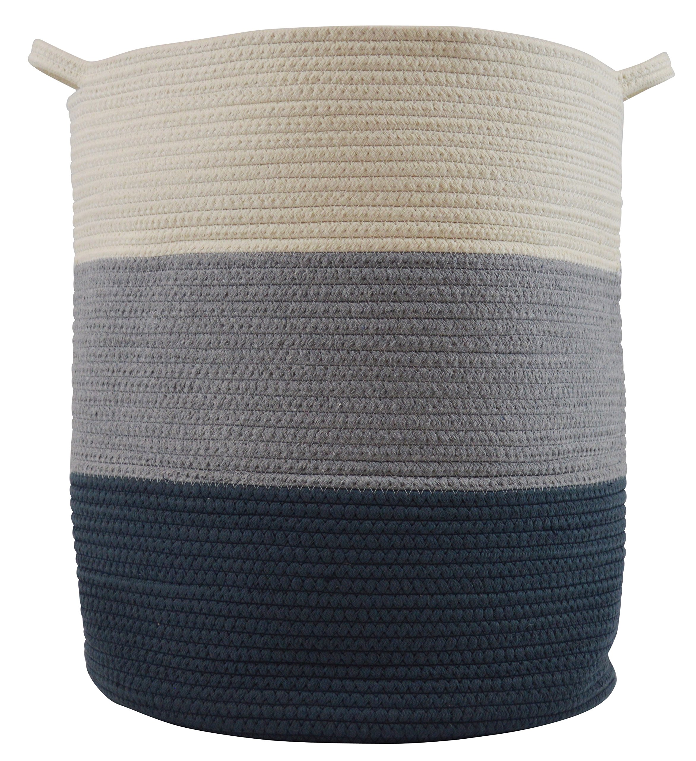 Cotton Rope Basket for Storage and Organization in Baby Nursery or Kids Room | Extra Large 18'' x 16'' Decorative Laundry Hamper, Organizer for Blankets, Towels, Toys, Books | Blue/Grey/Off-White by Sellaro Home