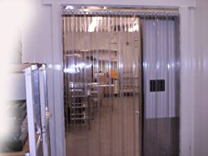 Strip-Curtains.com: Strip Door Curtain - 72 in. (6 ft) width X 96 in. (8 ft) height - RIBBED Low Temp - Anti Scratch 8 in. strips with 50% overlap - common door kit (Hardware included)