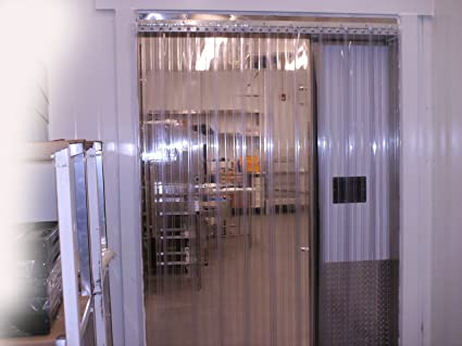 3 ft Standard smooth 8 in 6ft 8 in 36 in. Strip-Curtains.com: Strip Door Curtain strips with 50/% overlap Stainless Steel Hardware width X 80 in. height
