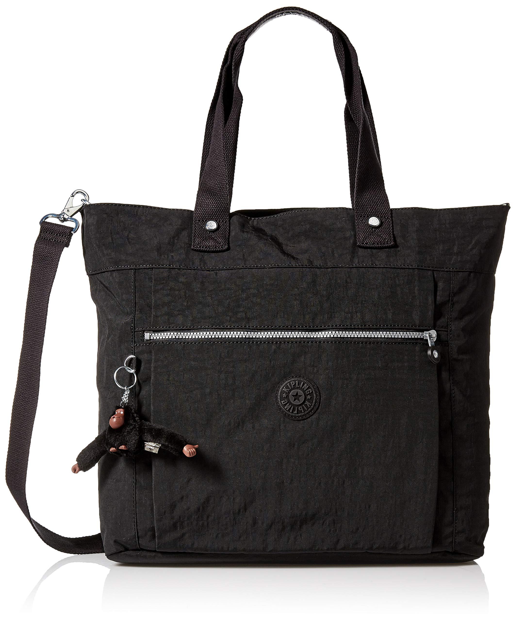 Kipling Lizzie Laptop Tote Bag, Removable, Adjustable Crossbody Strap, Zip Closure, Black