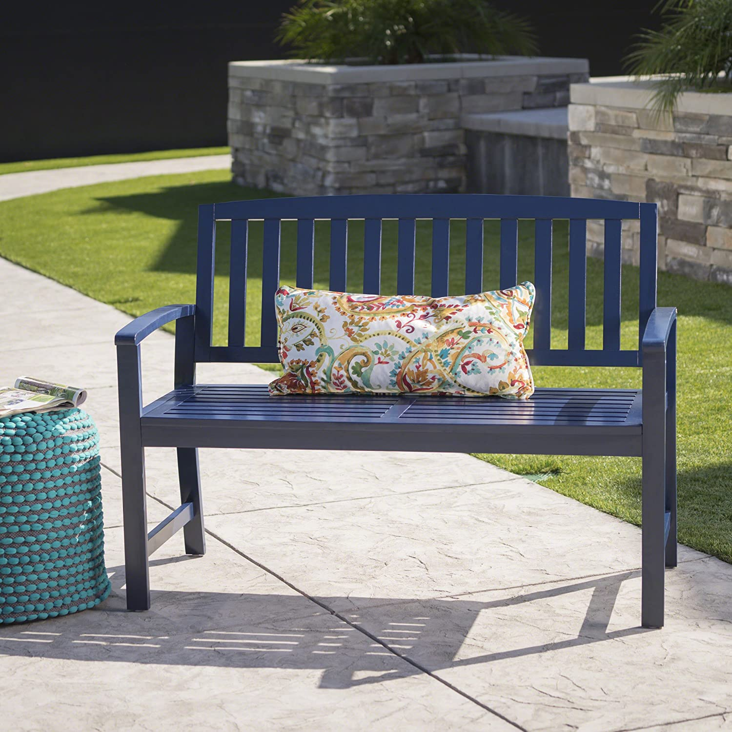 Loja Outdoor Navy Blue Finished Acacia Wood Bench
