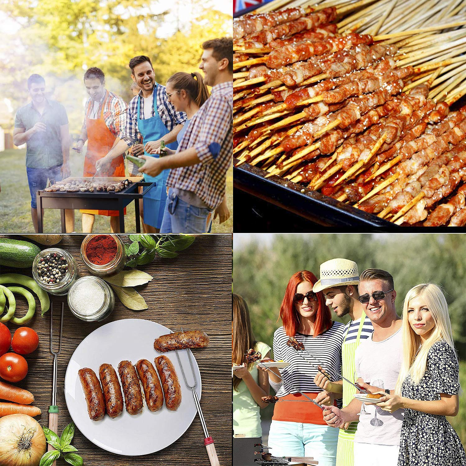 Geboor Marshmallow Roasting Sticks with 20 Bamboo Skewers Free Bag, Barbecue Stainless Steel Grill Sticks Extendable Forks for Campfire Firepit and Sausage BBQ by Geboor (Image #3)