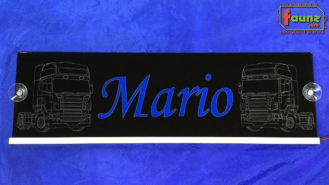 Grand Panneau Camion Truck Ampoule Ledmario Bleu Sur Noir