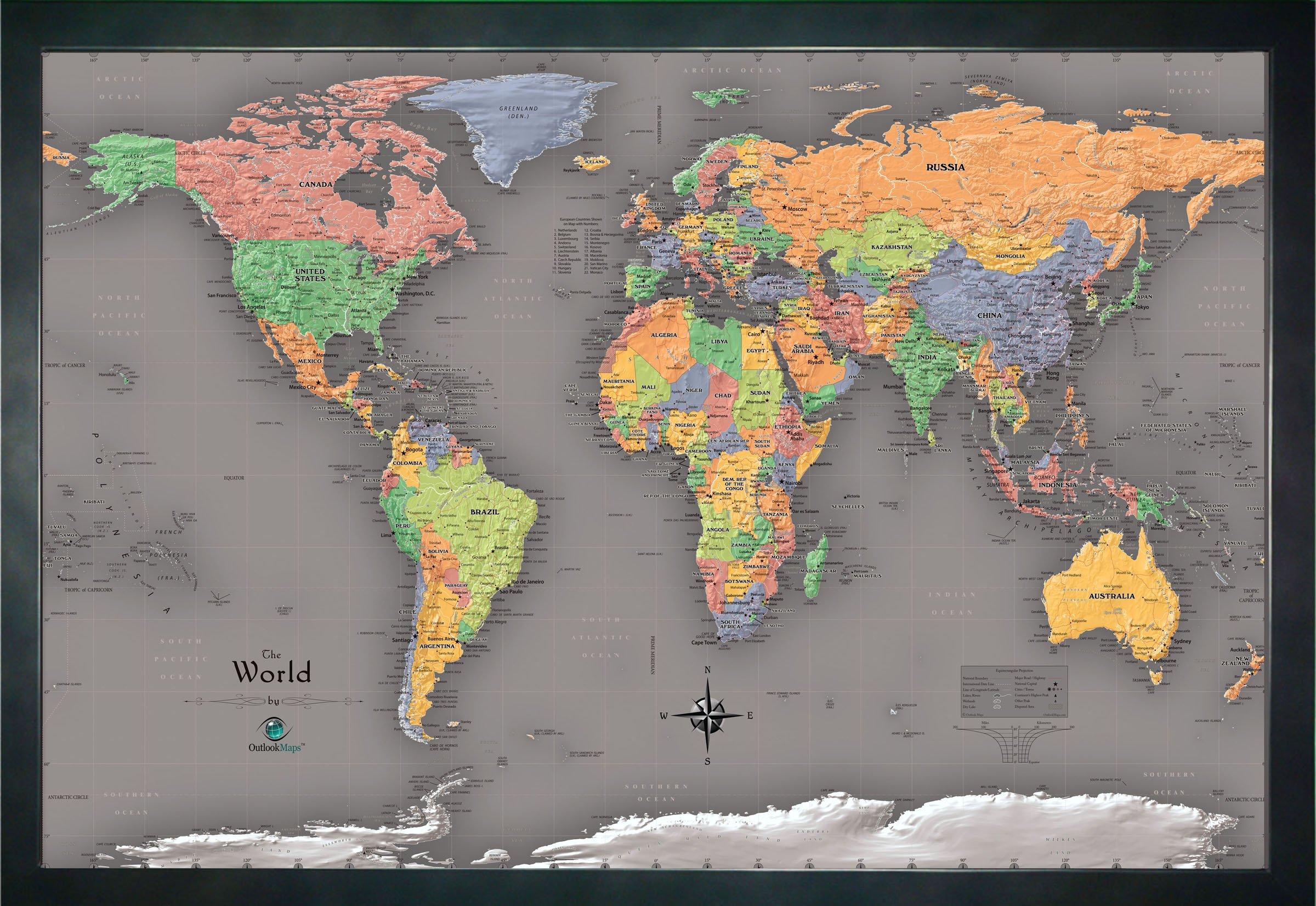 Homemagnetics 33 x 22'' Modern World Magnetic Map