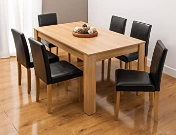Magnificent Dining Table With Faux Leather Chairs And Bench Oak Walnut Furniture Room Set By Smartdesignfurnishings Table 6 Chairs Oak Caraccident5 Cool Chair Designs And Ideas Caraccident5Info
