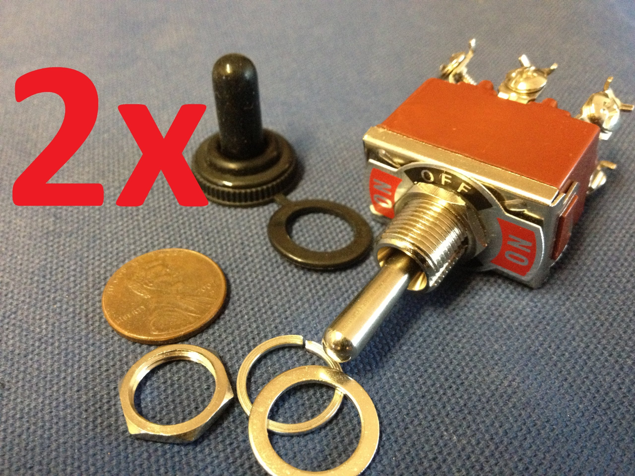 2x Waterproof Dpdt Momentary-off-momentary On/off/on Toggle Switches 15a 1/2