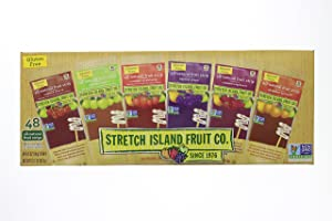 Fresh Stretch Island Fruit Co. Fruit Leather Variety Pack 48-Count package that comes in an EasyLock container that is Airtight, Watertight, and Stackable.