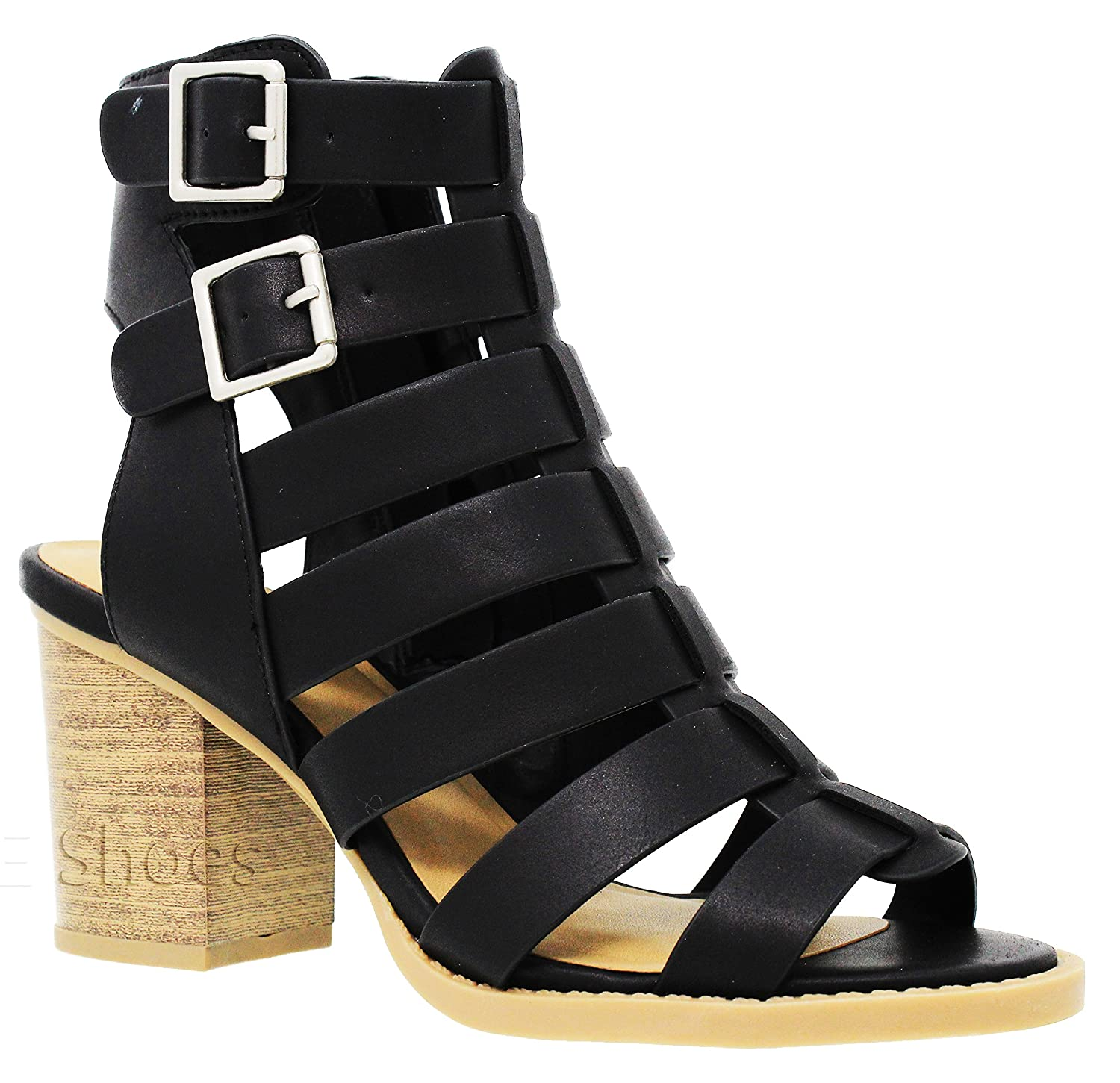 MVE Shoes Women's Open Toe Cut Out Mid Heel Sandal - Ankle Strap Faux Leather Dress Shoes - Sexy Stacked Sandal B0799R1B3B 7.5 B(M) US|Blackpu*n