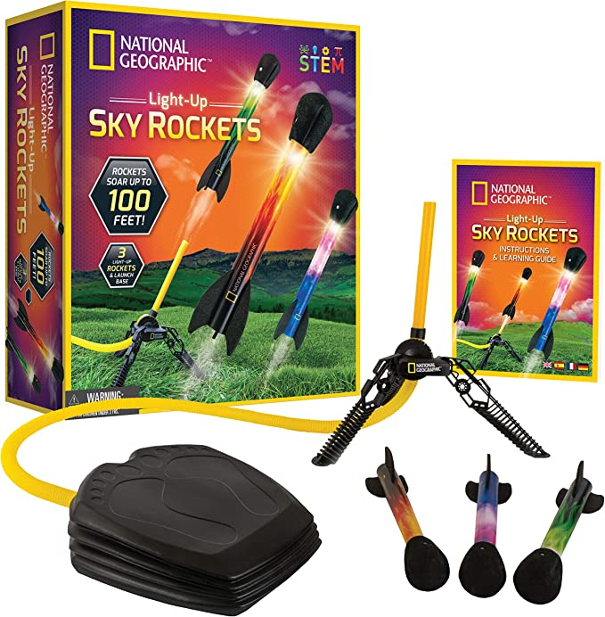 National Geographic Air Rocket Toy Ultimate Led Rocket Launcher For Kids Stomp And Launch The Light Up Air Powered Foam Tipped Rockets Up To 100 Feet Toys Games