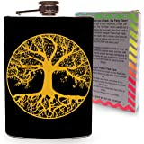 Tree of Life Flask Stainless Steel 8oz Large Hip Flasks Gold and Black flasks for liquor and alcohol - Colorful Gift Box