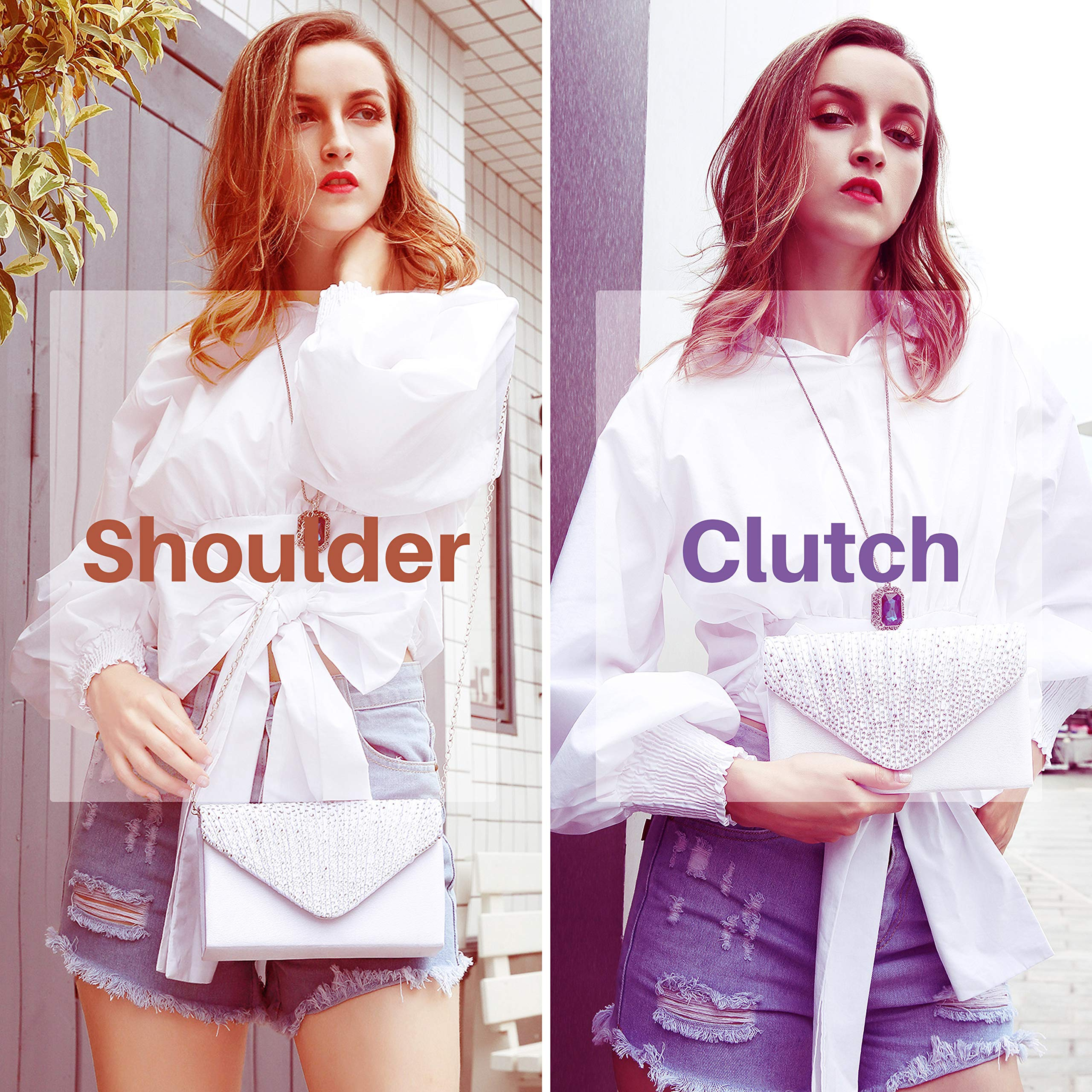 Milisente Clutch Purses for Women evening Glitter Wedding Purse Crystal Envelope Clutches Shoulder Bags (White) by Milisente (Image #2)