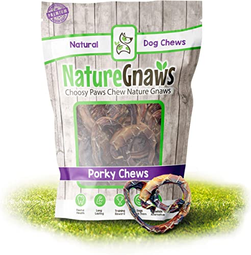 Nature Gnaws Porky Pretzels – 100 Natural Pork Bully Stick Chews – Single Ingredient Chew Treats for Dogs – Rawhide Bone Replacement – Small Dog Treat – Packaged in USA