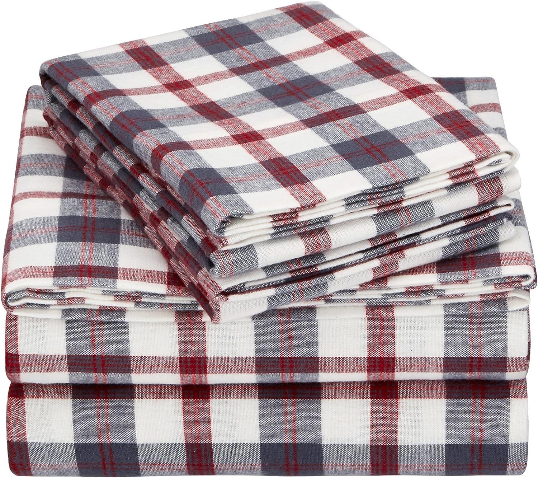 Pinzon 160 Gram Plaid Flannel Cotton Bed Sheet Set, King, Red / Grey Plaid