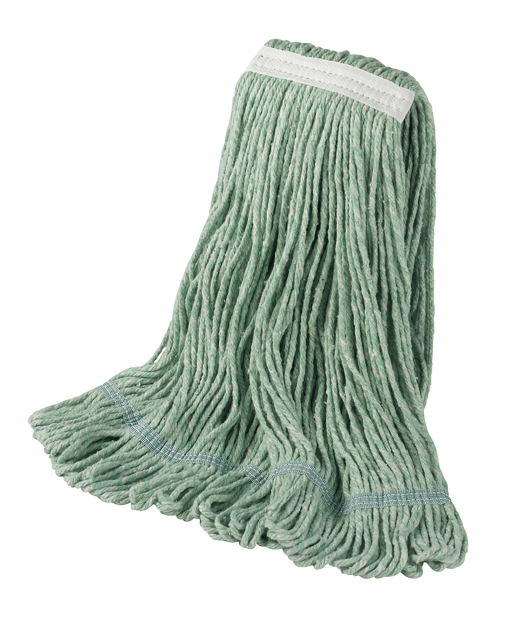 Bristles Wet Mop Head Loop End 1 Inch Narrow Headband 4 Ply Cotton Synthetic Yarn, Pack of 12 (Large, Green)