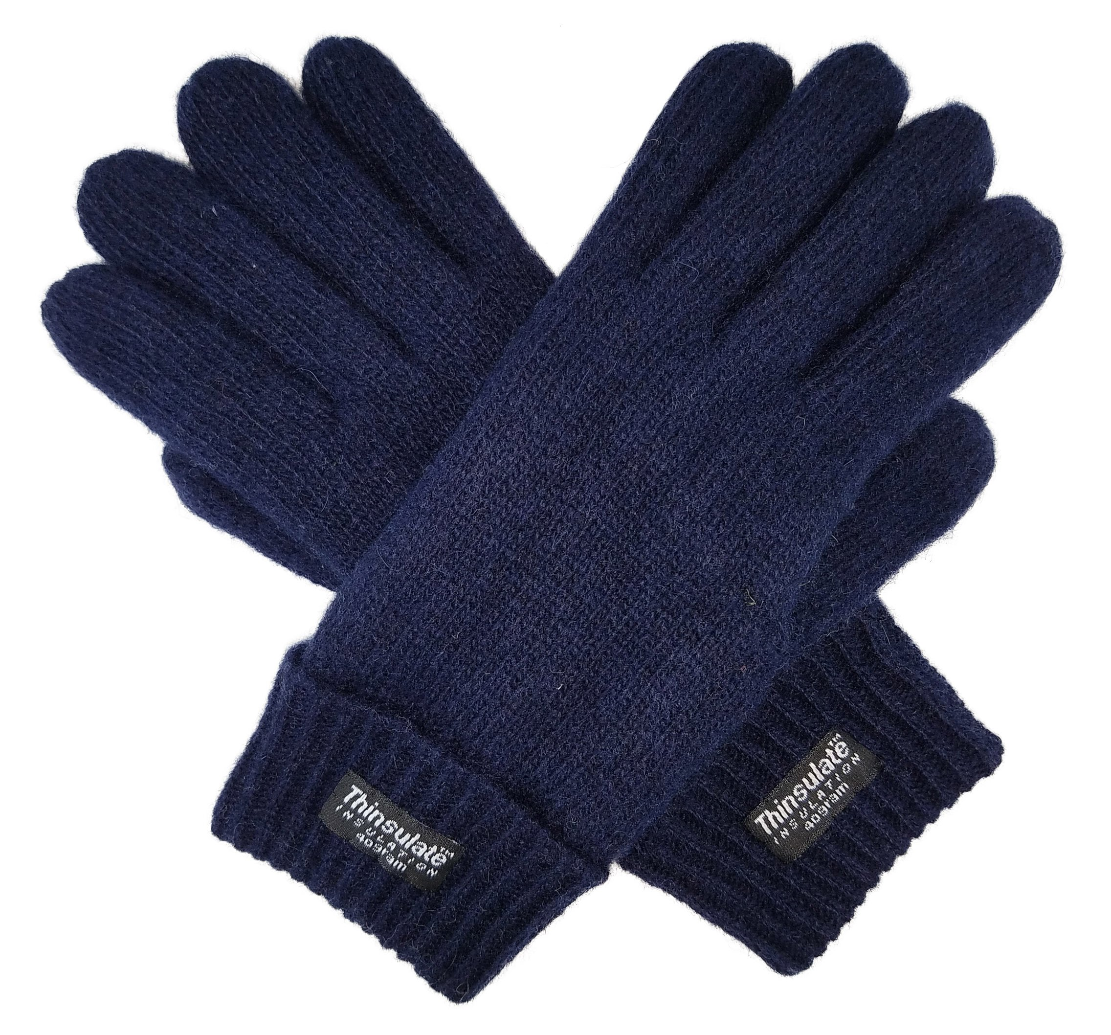Bruceriver Ladie's Wool Knit Gloves with Thinsulate Lining Size XL (Navy)
